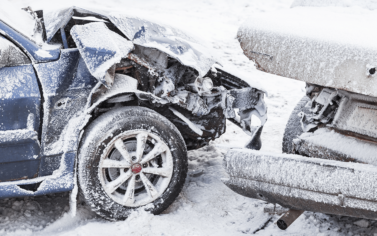 car accident in winter